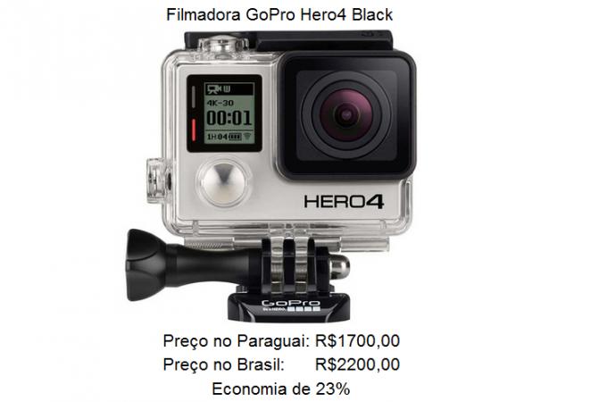 Comparativo de preço de uma câmera de ação, Go Pro, entre Brasil e Paraguai.